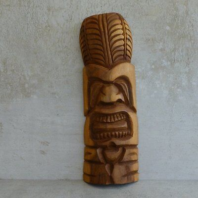 Vintage Hand Carved Wooden Tiki Figure Pacific Souvenir 28.6cm Tiki Bar Retro