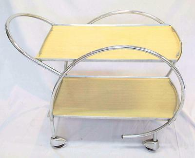 Art Deco Two Tier Chrome Cocktail Tea Drinks Trolley Cart Tray Yellow #10928