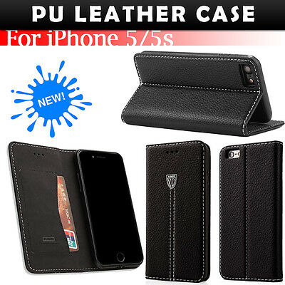 Genuine black PU leather Flip  wallet Case Cover for Apple  iPhone 5 5S SE [114