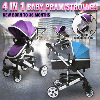 4 in 1 Baby Kids Toddler Ride-on Toys Pram Stroller Jogger With Bassinet Travel