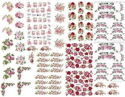 Dollhouse Miniature Shabby Chic Decals 1:12 Scale Floral Flowers Roses #6