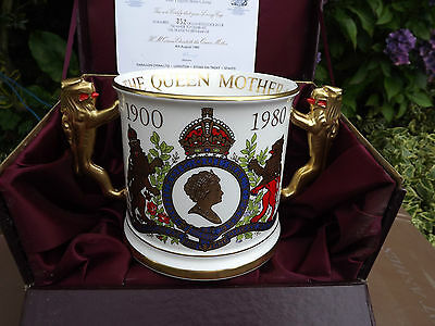 1980 Paragon China Large Lion Handled Loving Cup for Queen Mother 80th Birthday