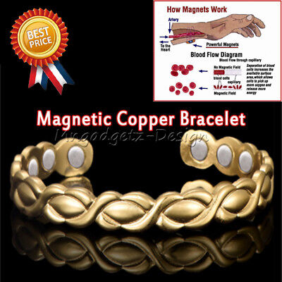 Magnetic Copper Bracelet Arthritis Therapy Pain Relief Unisex Bangle Healing NEW
