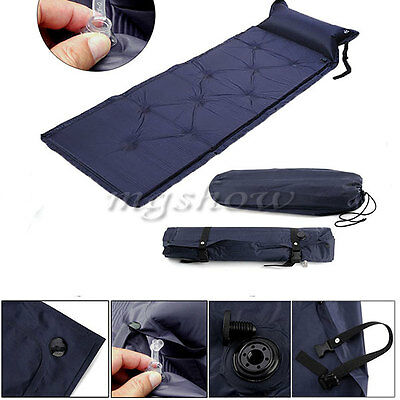 Self Inflating Camping Roll Mat Pad Inflatable Pillow Bed Sleeping Mattress +Bag