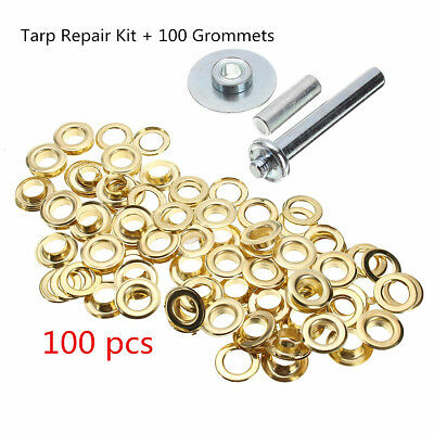 100Pcs Tent Punch Grommets Tarp Repair Kit Hole Cover Eyelets Tarpaulin Awning