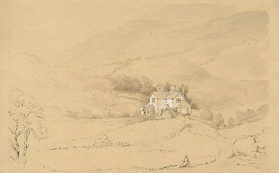 H.S. Clinton - Early 19th Century Graphite Drawing, House in a Landscape