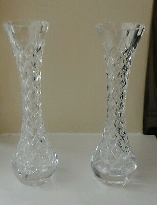 """Brand New Two Matching  8 """"  Crystal  Vases"""