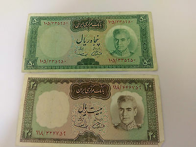 MIDDLE EAST 20 & 50 Rials notes - 1969