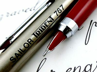 RARE NEW!! ALL Point TRIDENT SAILOR Fountain Pen Stainless Silver x Red Japan