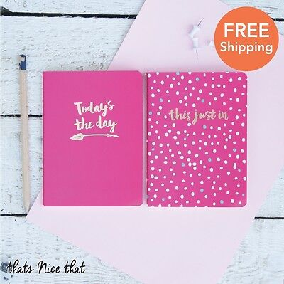 A6 Set of 2 Pink & Gold Notebooks Fun Gift Sketch Book Journal Diary Kids School