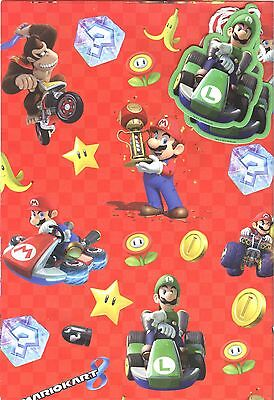 Super Mario Kart 2 Sheets Of Gift Wrapping Paper &2 Gift Tags*free 1St Class P&p