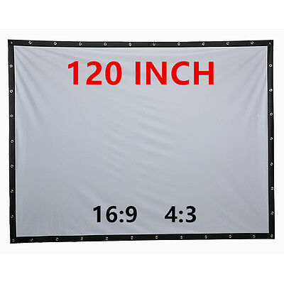 16:9 Portable Projection Screen 120 inches Home Cinema With Eyelets Wall Mount