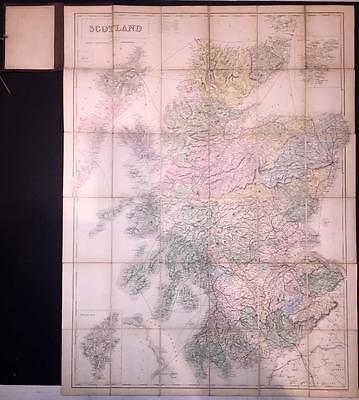 1860 Antique Folding ROAD & RAILWAY TRAVELLING MAP OF SCOTLAND by Black