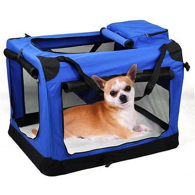 Portable Fabric Soft Pet Crate Cat Dog Cage Carrier House Kennel Foldable Blue