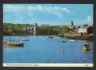 """MENAI SUSPENSION BRIDGE FROM NEW PIER""  Postcard  Wales  Anglesey"