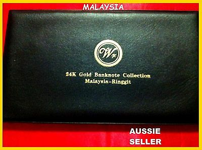 Gift 6 Malaysian 24Kt Gold Banknote Album Bank  Note 1 5 10 20 50 100 Ringgit