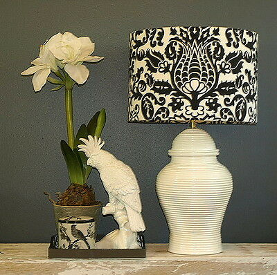 CLEARANCE: Aus Made Lampshade, Black/White Damask Drum, 38x26cm Au Fitting