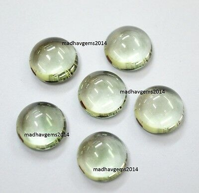 10 Pieces! Natural Green Amethyst 6X6 Mm Round Shape Loose Gemstone Cabochon