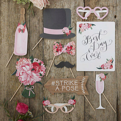 BOHO WEDDING PHOTO BOOTH PROPS Rustic Vintage Selfie Kit Signs Photobooth