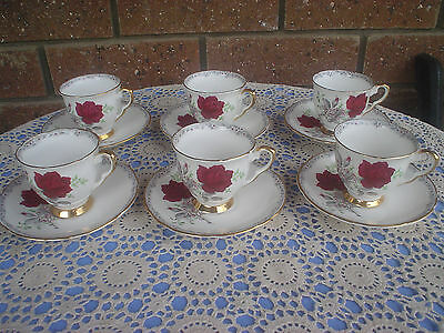 Royal Stafford Roses To Remember Set Of 6 Demitasse Cups & Saucers High Tea