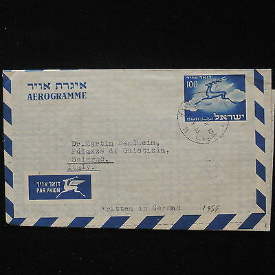 ZS-AA026 ISRAEL - Airmail, 1955 To Salerno, Written In German,Airletter Cover