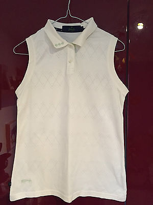 Pringle ladies sleeveless golf top in creamwith stitched pattern size small