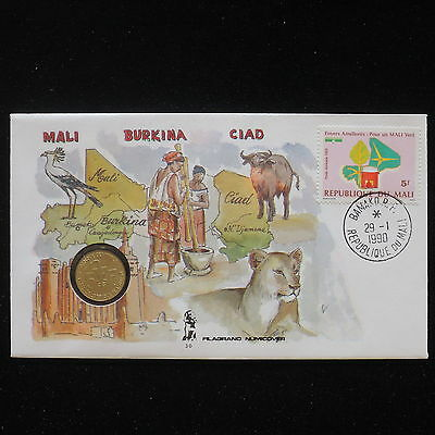 ZS-AA057 MALI IND - Numisbrief, 1990 Fdc, Animals, Folklore Cover