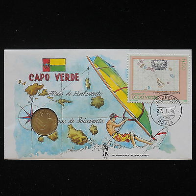 ZS-AA058 CAPE VERDE IND - Numisbrief, 1990 Fdc, Sports, Beaches Cover