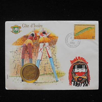 ZS-AA080 IVORY COAST IND - Numisbrief, 1986 Fdc, Folklore Cover