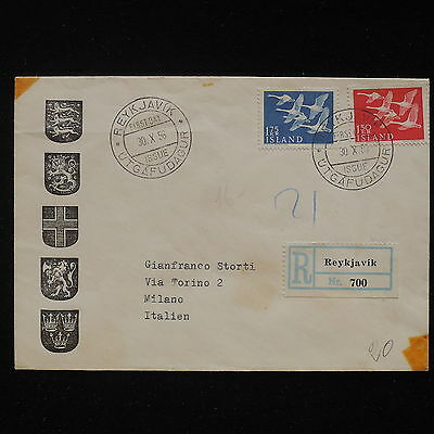 ZS-AA133 ICELAND - Fdc, 1956 Registered From Rejkavik To Milan Cover