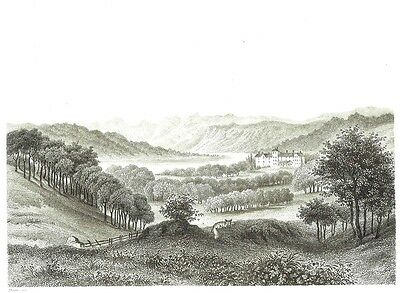 Windermere, Westmorland - Largest Natural Lake in England - Line Engraving 1863
