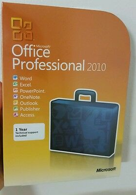 Microsoft Office Professional 2010 Retail Full Version,32/64 Bit With Dvd