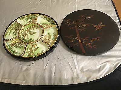 Antique Signed Nippon Japanese Sectional Condiments Tray Plate Gold Hand Painted