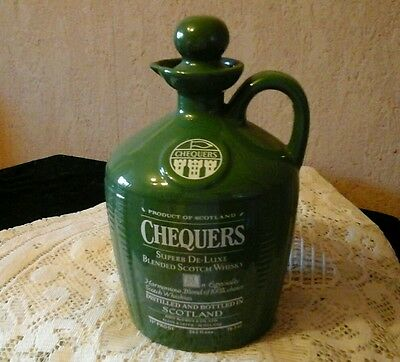 Rare Large Vintage Chequers Whisky Flagon. (empty )