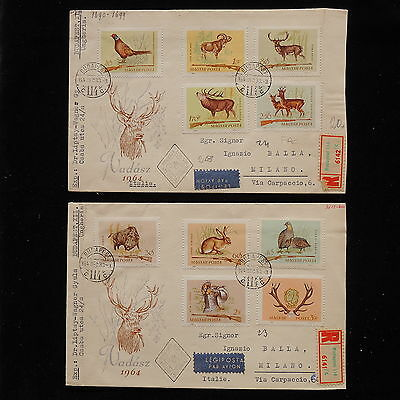 ZS-AA934 HUNGARY - Wild Animals, 1964 Fdc, To Milan Italy, Lot Of 2 Covers