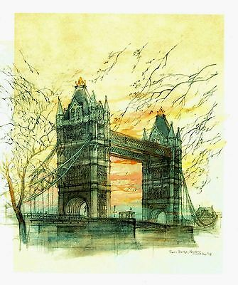 """Sunrise Over Tower Bridge"" London, England - Lithograph by Mads Stage (Danish)"