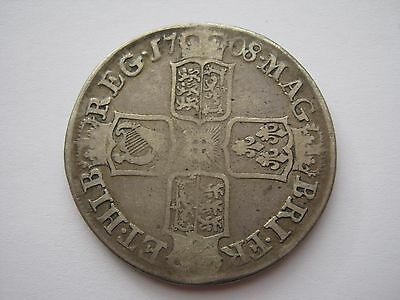 1708 Queen Anne sterling silver half crown coin - Septimo, E below bust