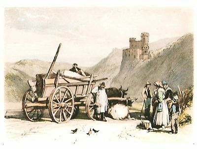 Ehrenfels-On-The-Rhine & Castle - Litho after James Duffield Harding - c1880