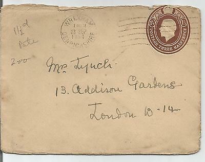 KING GEORGE V POSTAL STATIONERY 1½d COVER WITH 1934 WREXHAM CANCEL 209