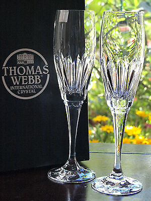 Thomas Webb Finest Crystal Champagne Fluted Glass - Cleopatra pattern - Set of 2