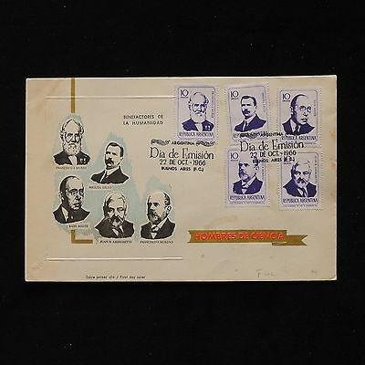 ZS-AB499 ARGENTINA - Fdc, 1966 Science Men, Benefactors Of Humanity Cover