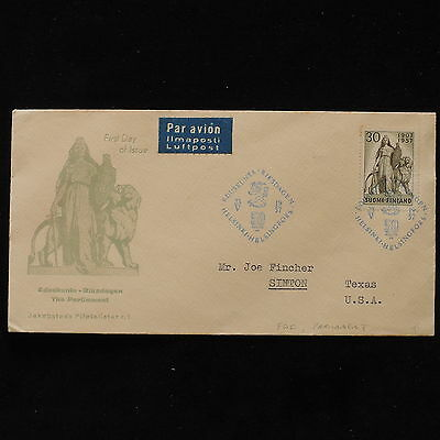 ZS-AB527 FINLAND - Fdc, 1957 Parliament To Simton Usa Cover