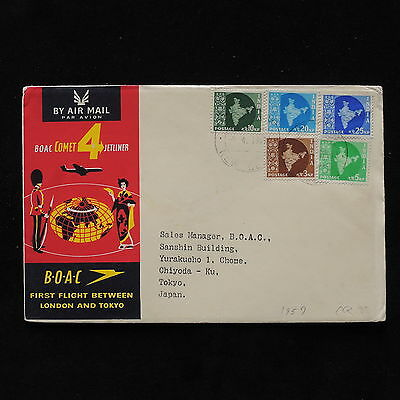 ZS-AB637 INDIA IND - Boac, 1959 First Flight London Tokyo Cover