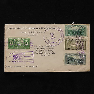 ZS-AB638 HONDURAS - Airmail, 1937 From San Pedro Sula To New York Usa Cover