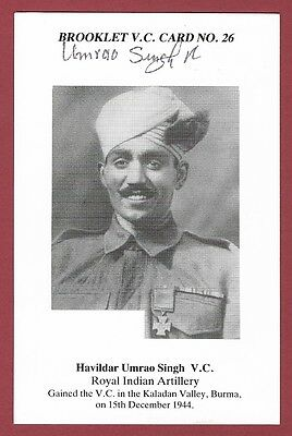 Signed Brooklet Card - Havildar Umrao Singh Vc - Victoria Cross Recipient Wwii.