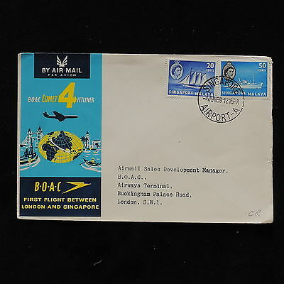 ZS-AB675 SINGAPORE IND - Boac, 1958 First Flight London Singapore Cover