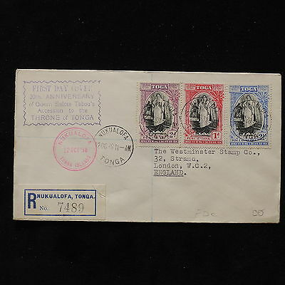 ZS-AB702 TONGA IND - Fdc, 1938 20Th Anniv. Queen Tabhou'S Throne Cover