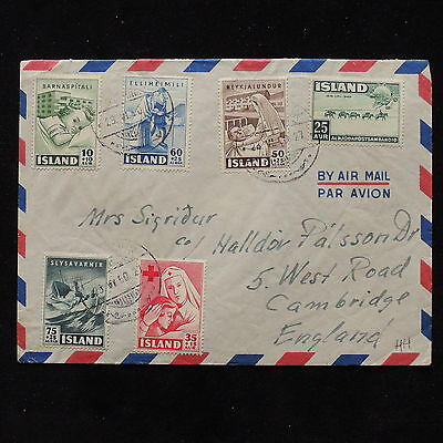 ZS-AB710 ICELAND - Airmail, 1950 From Reykjavik To Cambridge England Cover