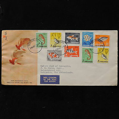 ZS-AB754 SINGAPORE IND - Fish, 1962 To Rotterdam Netherlands, Fdc Cover
