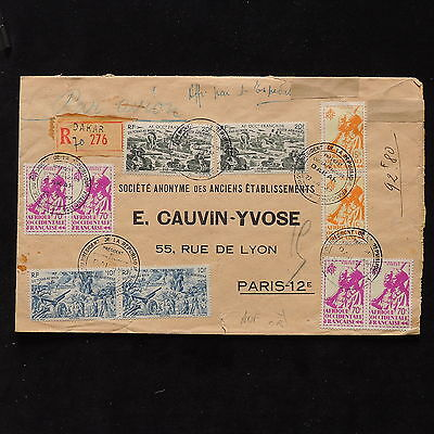 ZS-AB770 AOF - Registered, 1947 Airmail From Dakar To Paris Cover